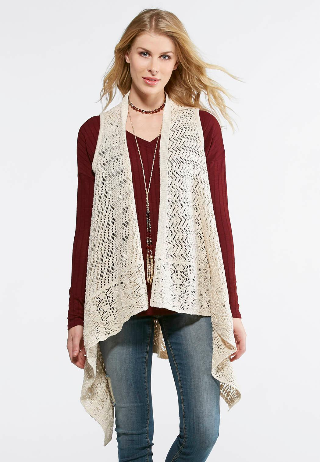 Waterfall Pointelle Sweater Vest Sweaters Cato Fashions