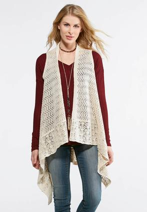 Waterfall Pointelle Sweater Vest