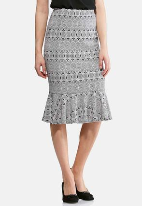 Graphic Lace Flounced Skirt- Plus