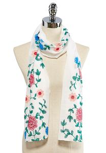 Floral Embroidered Oblong Scarf