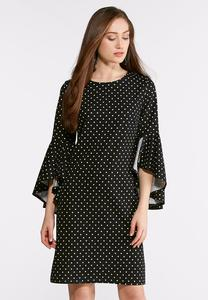 Polka Dot Ruffled Sleeve Dress
