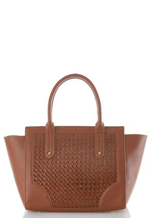 Basketweave Textured Satchel