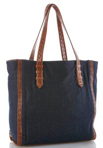 Denim Laser Cut Tote