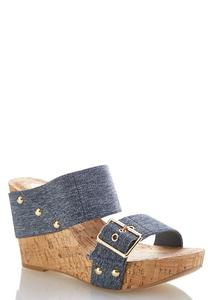 Denim Band Cork Wedges
