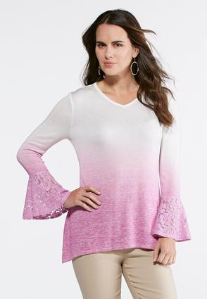 Dip Dyed Lace Bell Sleeve Top
