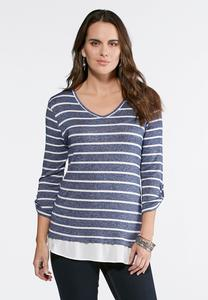 Stripe Layered Knit Top