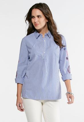 Embroidered Sleeve Striped Shirt