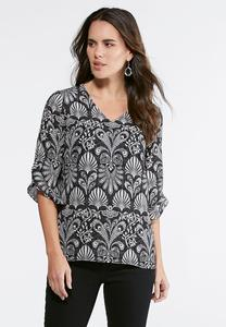 Ruffled Sleeve Shell Paisley Top- Plus