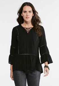 Lattice Tie Poet Top-Plus