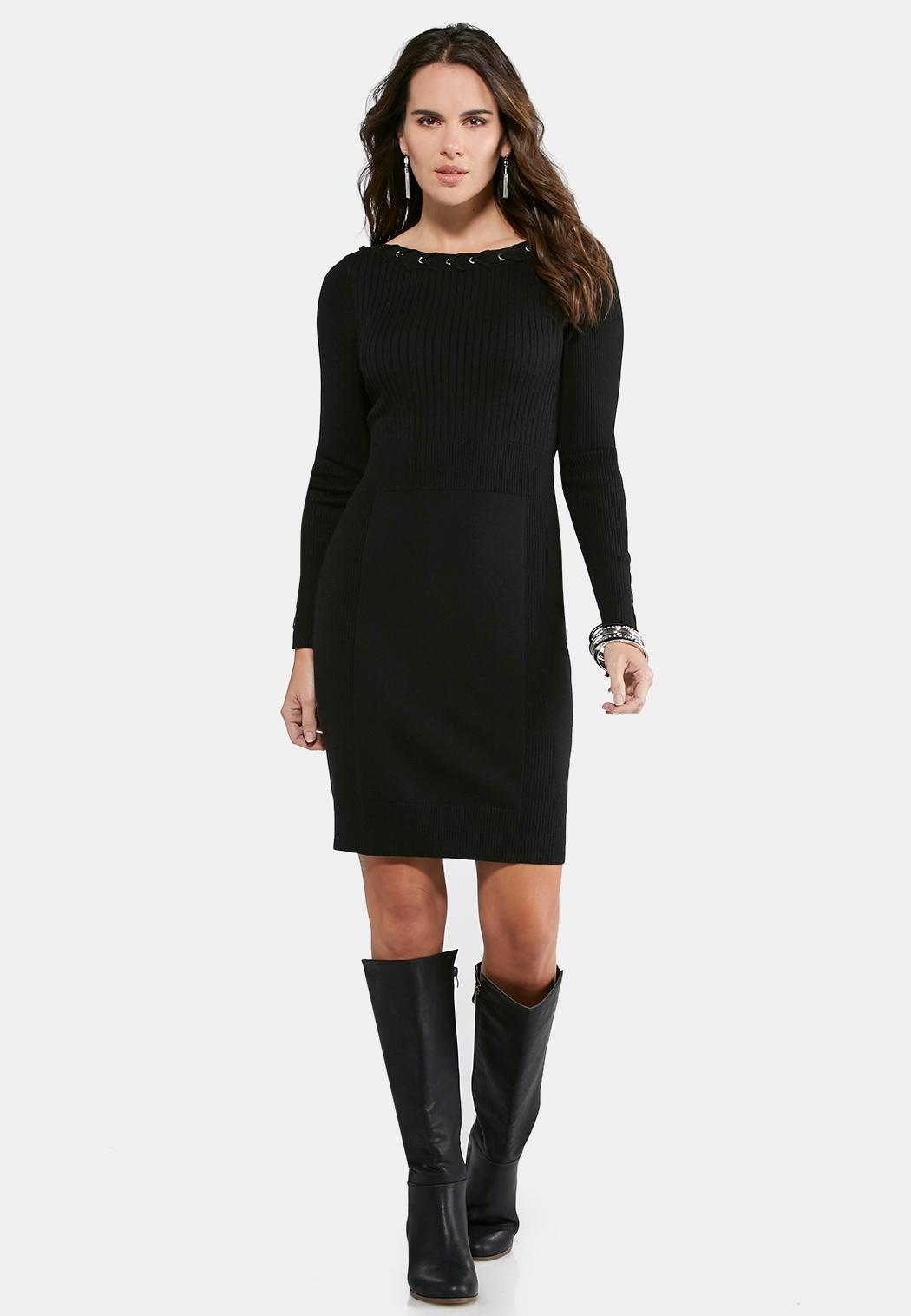 Grommet Trim Ribbed Sweater Dress Junior/Misses Cato Fashions