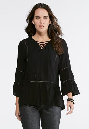 Lattice Tie Poet Top