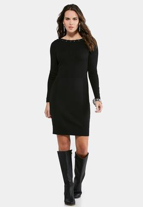 Plus Size Grommet Trim Ribbed Sweater Dress