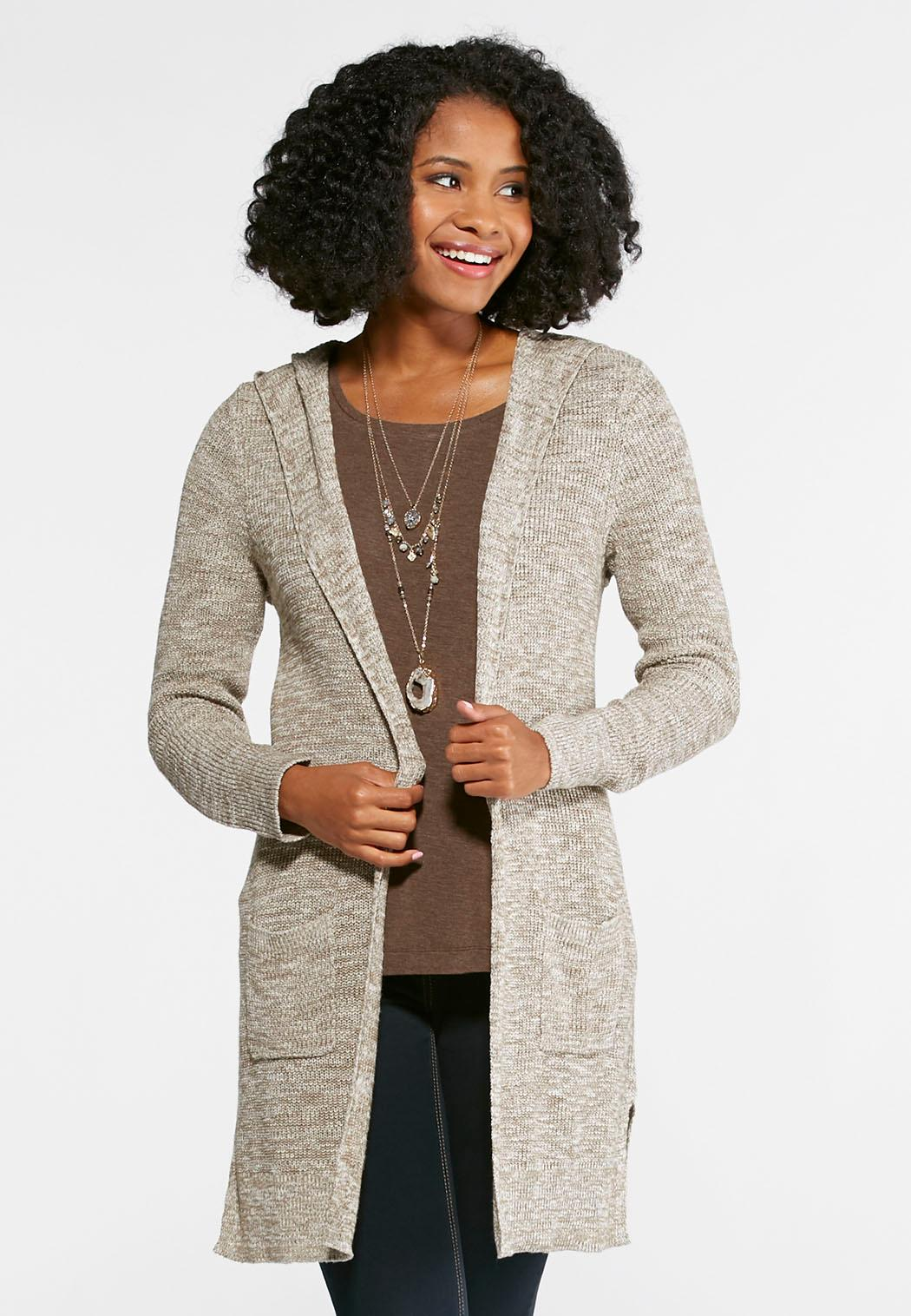 Hooded Marled Cardigan Sweater Cardigans & Shrugs Cato Fashions