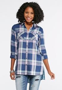 Mixed Plaid Tile Print Tunic