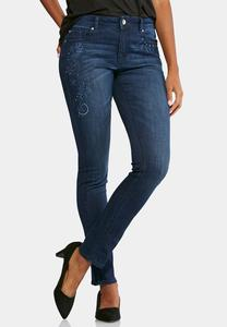 Tonal Embroidered Skinny Jeans