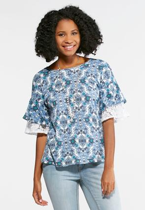 Floral Layered Sleeve Top- Plus