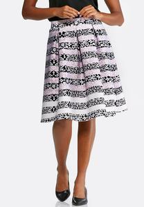 Floral Striped Full Midi Skirt-Plus