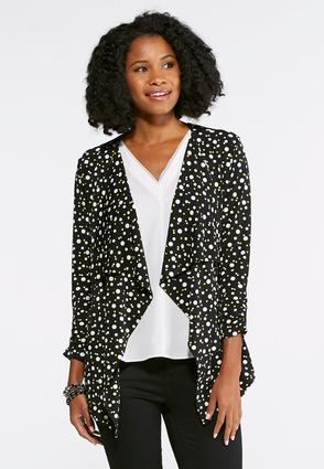 Dotted Draped Jacket- Plus