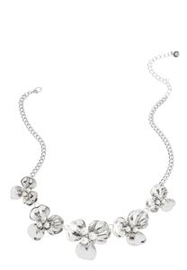 Hammered Floral Pearl Necklace