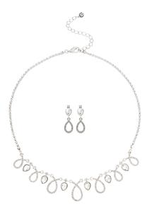 Looped Rhinestone Necklace and Earring Set
