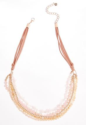 Layered Faux Suede Bead Necklace at Cato in Brooklyn, NY | Tuggl