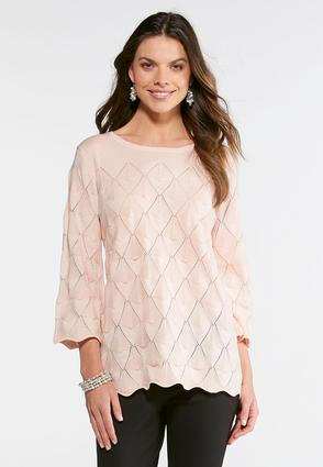 Scalloped Pointelle Sweater