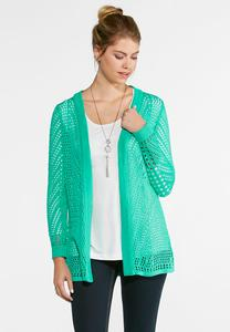 Relaxed Pointelle Sweater Cardigan
