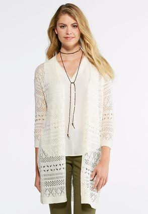 Allover Pointelle Cardigan Sweater at Cato in Brooklyn, NY | Tuggl