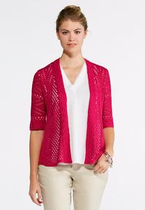 Open Stitch Cardigan Sweater-Plus