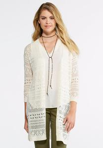 Allover Pointelle Cardigan Sweater-Plus
