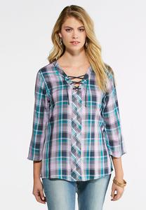 Plaid Lace Up Top
