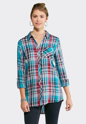 Plaid Front Pocket Tunic- Plus