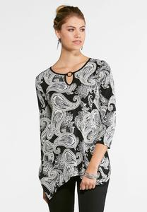 Paisley Puff Print Sharkbite Top