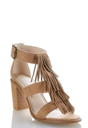 Fringe Vamp Heeled Sandals