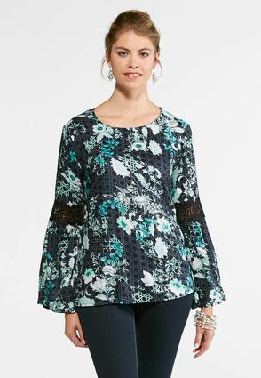 Floral Lace Trim Bell Sleeve Top