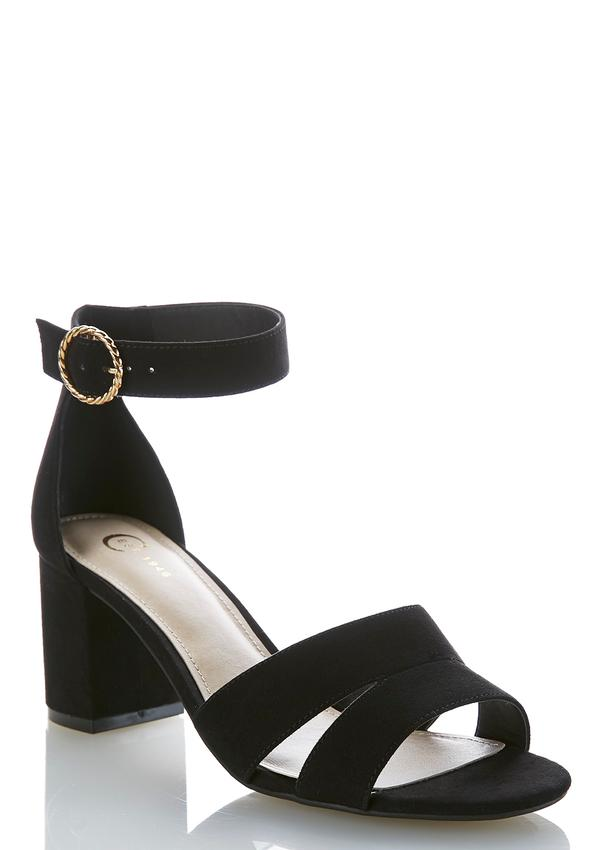 Wide Width Faux Suede Heeled Sandals Heels Cato Fashions