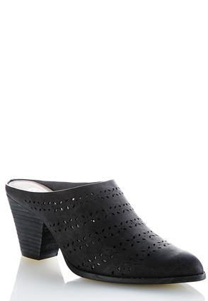 Laser Cut Heeled Mules