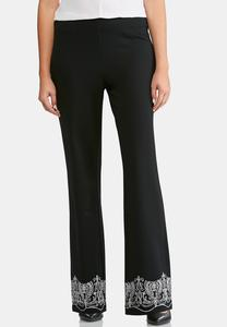 Embroidered Bootcut Pants-Petite