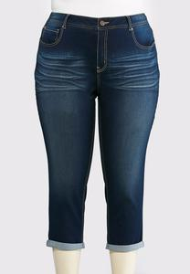 Whiskered Cropped Jeans-Plus