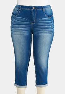 Shape Enhancing Cropped Jeans- Plus