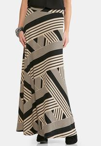Mixed Striped Hacci Maxi Skirt-Plus