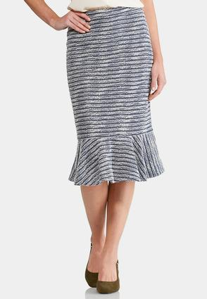 Flounced French Terry Striped Skirt