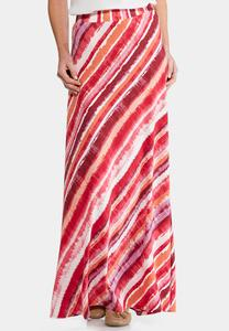 Brush Stroke Stripe Maxi Skirt-Plus