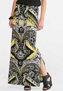 Black and Yellow Print Maxi Skirt-Plus