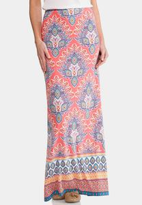 Floral Kaleidoscope Maxi Skirt-Plus