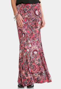 Mixed Paisley Mermaid Maxi Skirt-Plus