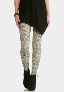 Gold and Black Paisley Leggings