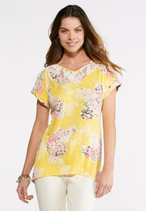 Spring Floral Lace Top-Plus
