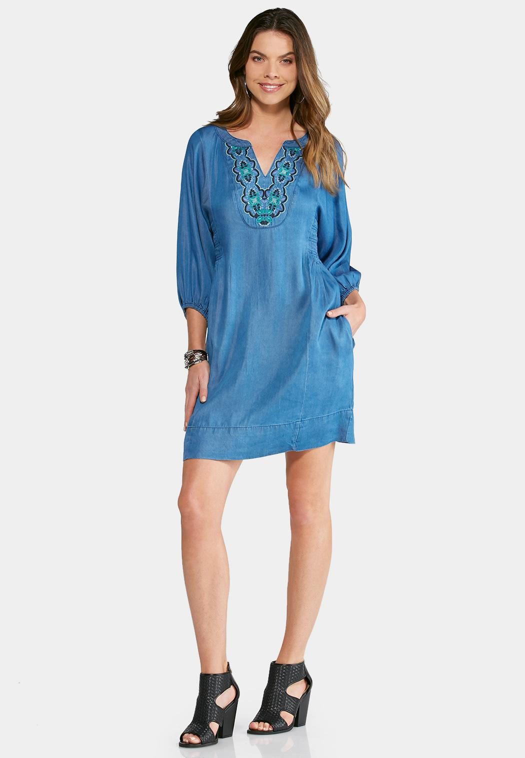 Plus Size Embroidered Chambray Dress Plus Sizes Cato Fashions