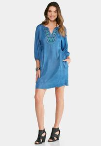 Plus Size Embroidered Chambray Dress